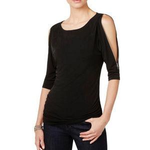 NWOT: INC Zipper Cold Shoulder Pullover Top